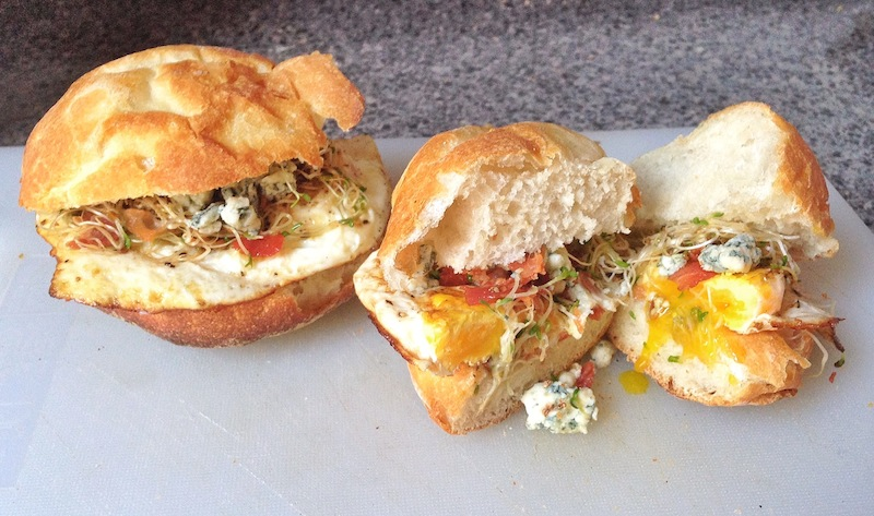 Fried Egg Sandwiches with Pancetta, Blue Cheese and Alfalfa Sprouts